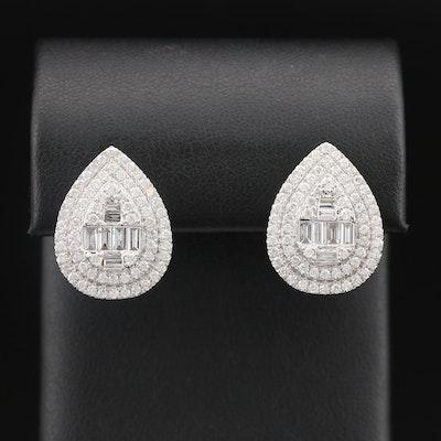 14K 2.37 CTW Diamond Double Halo Earrings