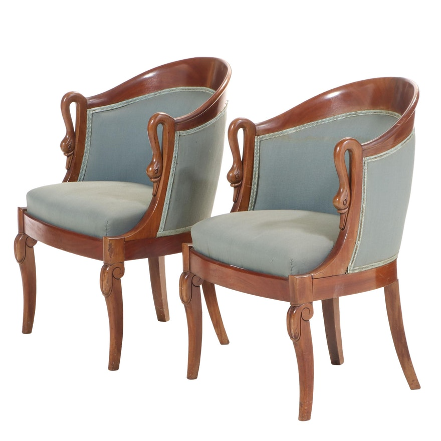 Pair of French Restauration Style Gondola-Back Armchairs, Mid-20th Century