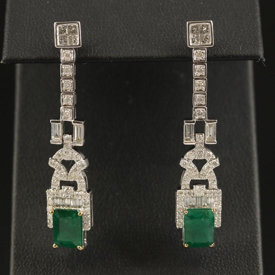 14K 2.96 CTW Emerald and 1.88 CTW Diamond Drop Earrings