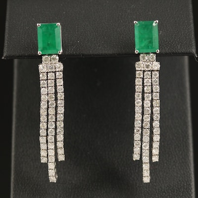 14K 2.93 CTW Emerald and 2.04 CTW Diamond Dangle Earrings
