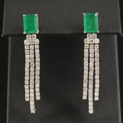 14K 2.93 CTW Emerald and 2.04 CTW Diamond Dangle Earrings