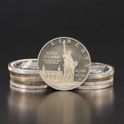 Ten U.S. Commemorative Silver Dollar Proof Coins