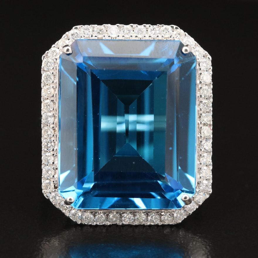 14K 29.43 CT Swiss Blue Topaz and Diamond Statement Ring