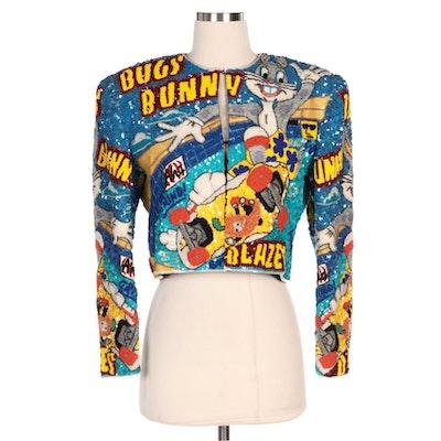 """Jeanette Kastenberg Platinum """"Bugs Bunny Blazes"""" Hand Embellished Bolero Jacket"""
