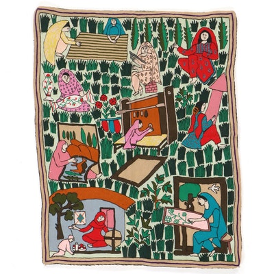 Mandmade Indian Kashmiri Chain Stitch Crewel Embroidery Panel