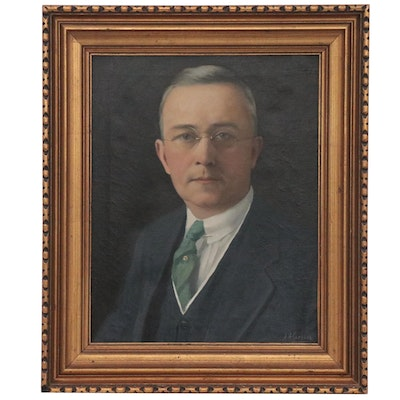 Aaron Harry Gorson Portrait Oil Painting, Early 20th Century
