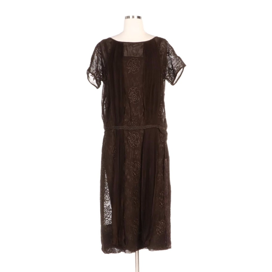 Embroidered Georgette Drop-Waist Garçonne Dress with Tassel Belt