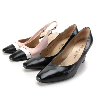St. John Tricolor Leather Slingbacks and Black Leather Pumps with Metal Trim