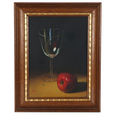 Dalhart Windberg Oil Painting of Wine Glass and Apple