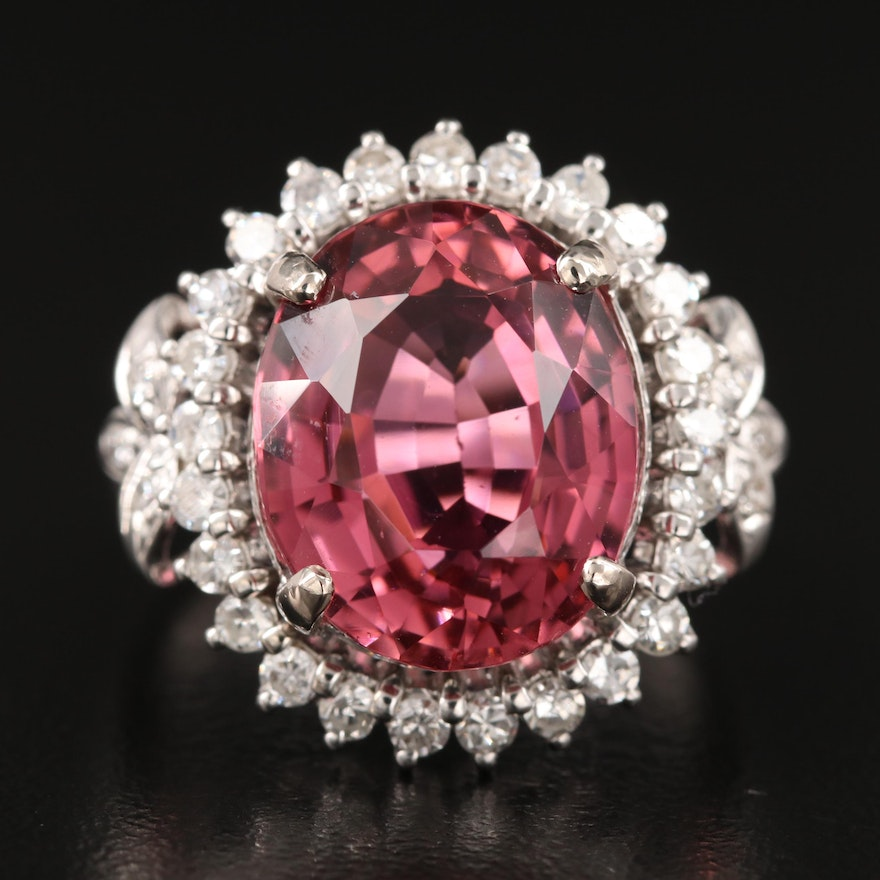 10K 9.26 CT Rubellite and Diamond Ring with GIA Report