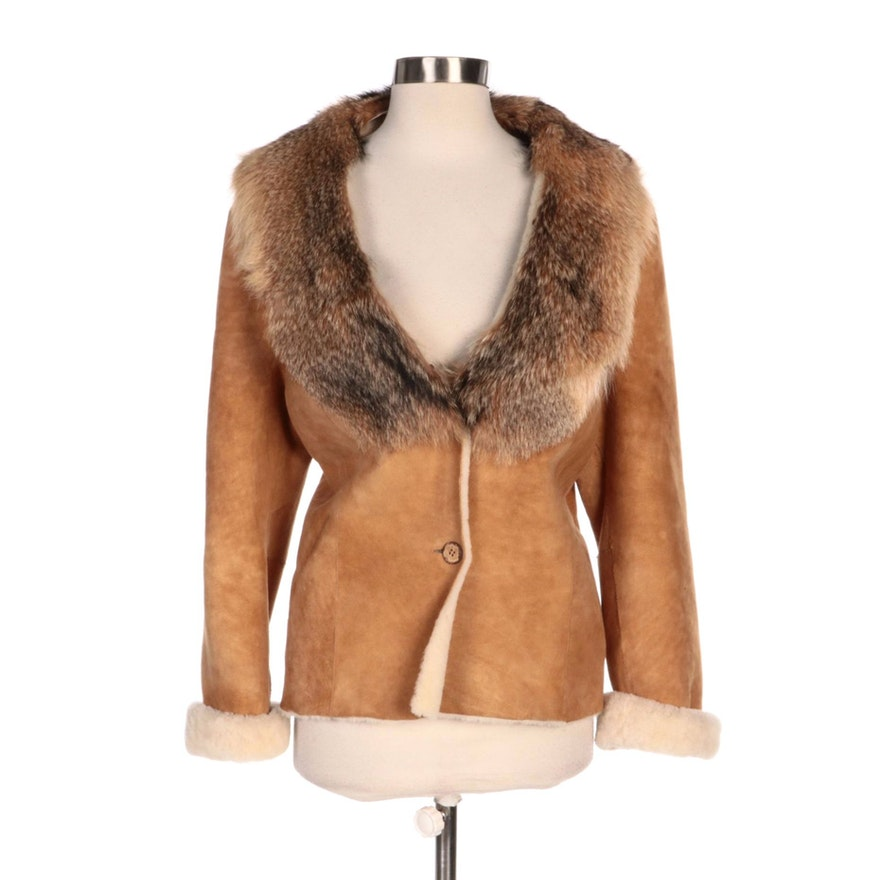 Suede and Shearling Lined Button-Front Jacket with Coyote Fur Collar
