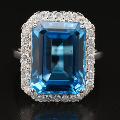 14K 14.58 CT Swiss Blue Topaz and Diamond Ring
