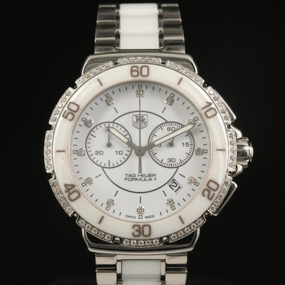 TAG Heuer Formula 1 Chronograph Ceramic and Stainless Steel Diamond Wristwatch