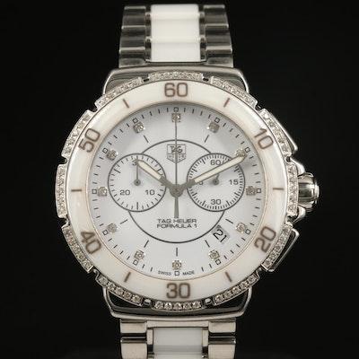 TAG Heuer Formula 1 Chronograph Ceramic and Stainless Steel Diamond Wristwatch