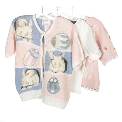 BellePoint and Marisa Christina Rabbit and Faux Pearl Embellished Sweaters
