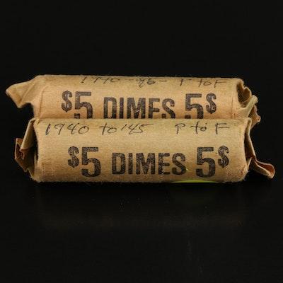 Two Rolls of Mercury Silver Dimes, 1940s