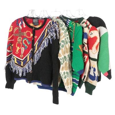 Uruguayan Hand-Knit Berek Novelty Sweaters with Dia Pear Print Cardigan