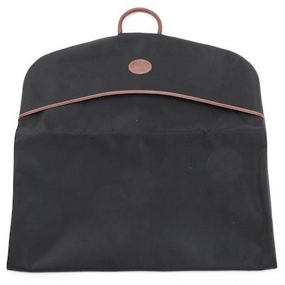 Longchamp Black Canvas Garment Bag with Leather Trim