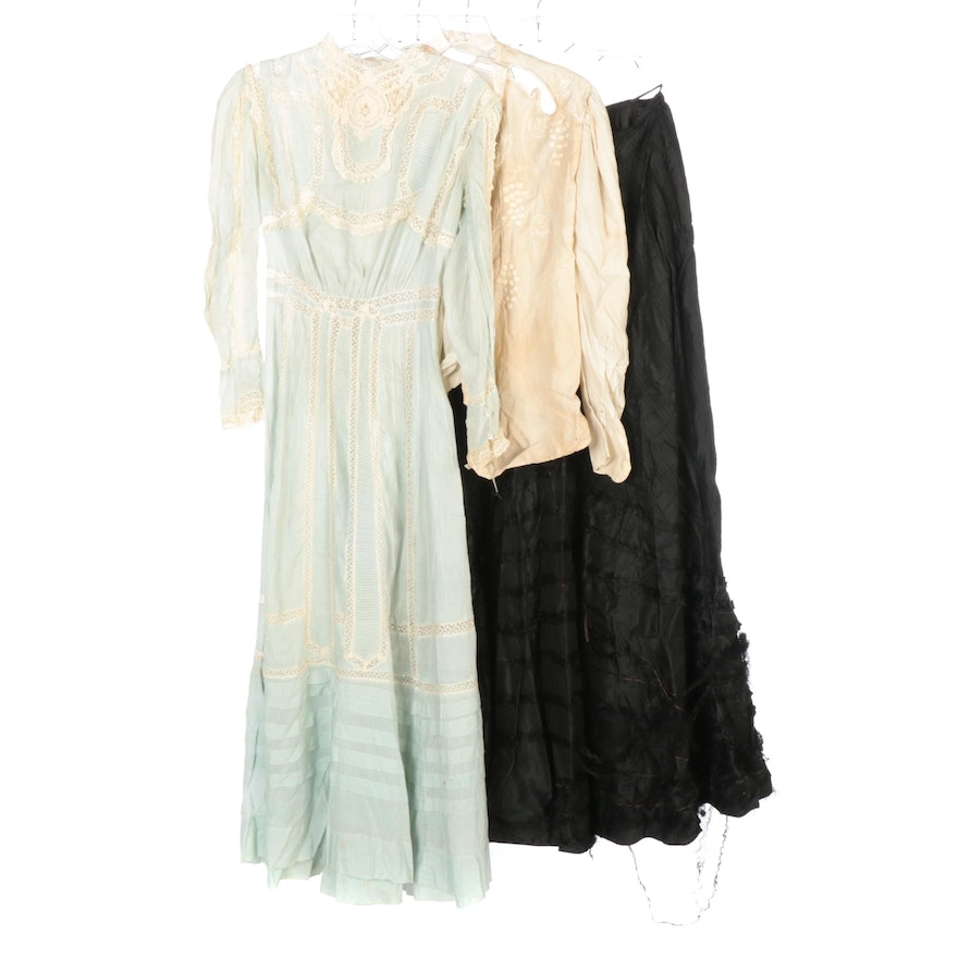 Lace Trim Gown, Silk Camisole, Embroidered Shirtwaist and Silk Skirt, 1900s