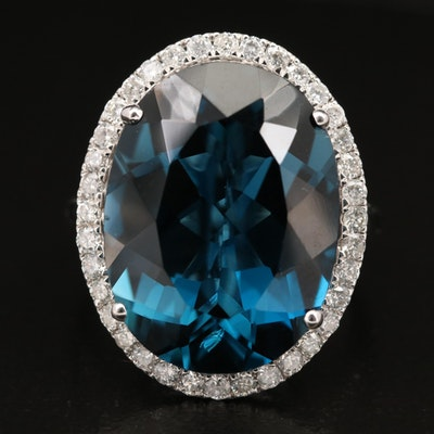 14K 19.97 CT London Blue Topaz and Diamond Ring