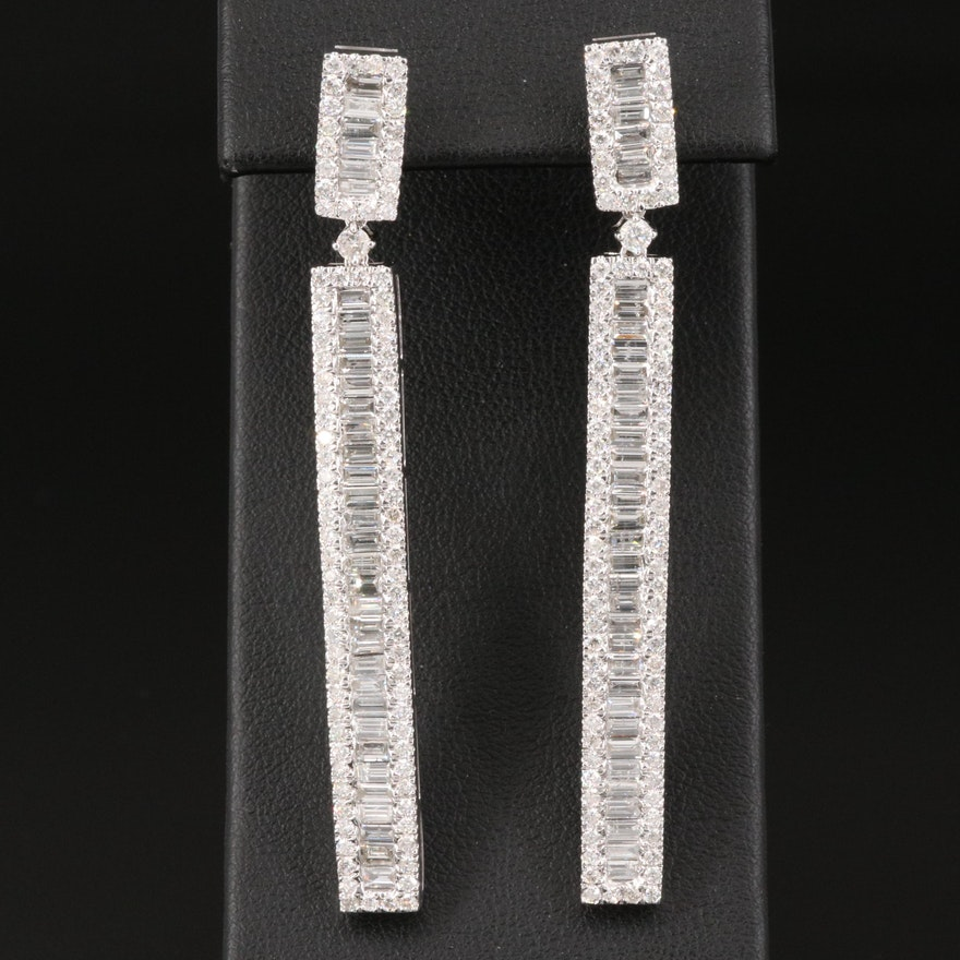 14K 4.44 CTW Diamond Bar Drop Earrings
