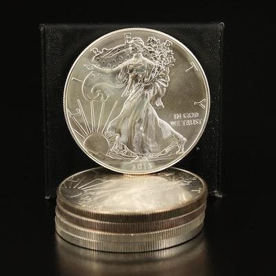 Five $1 American Silver Eagle Bullion Coins