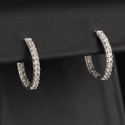 Sterling Diamond Inside-Out Hoop Earrings