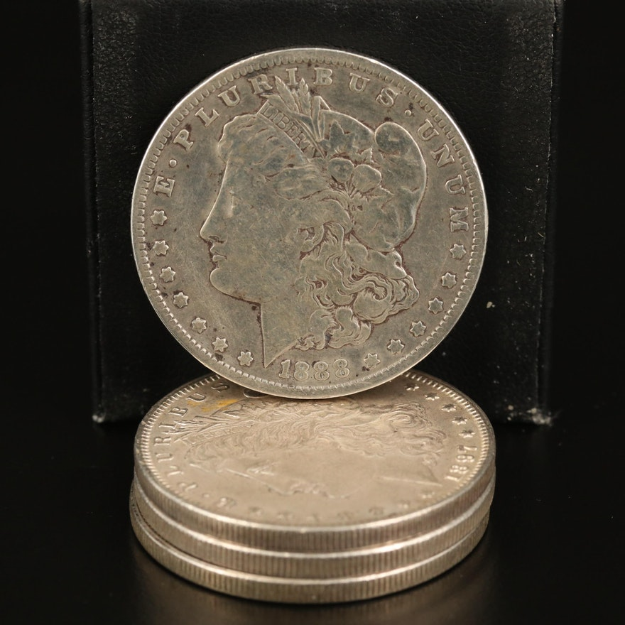 Four Morgan Silver Dollars, Late 19th/Early 20th Century