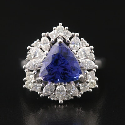 14K 3.38 CT Tanzanite and 1.15 CTW Diamond Ring