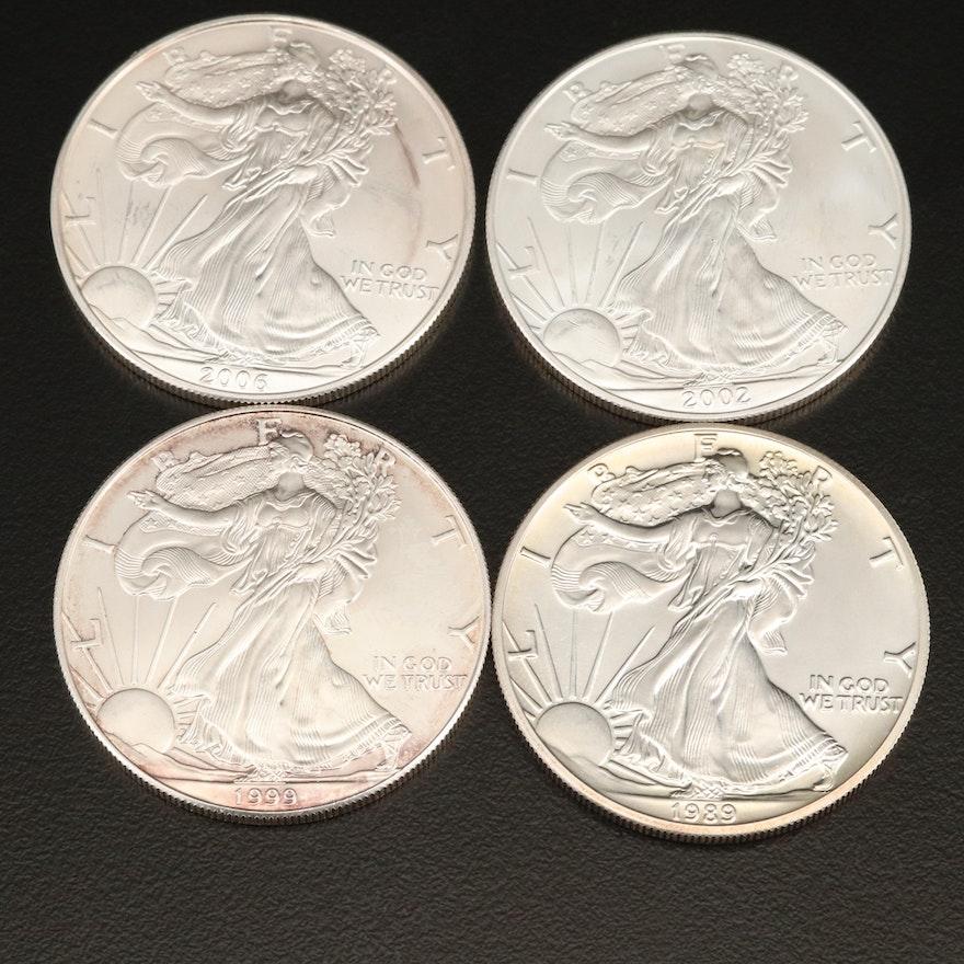 Four $1 American Silver Eagle Bullion Coins