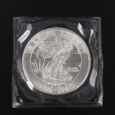 "1 Troy Ounce Walking Liberty Half Dollar ""Commemorative Copy"" .999 Silver Round"