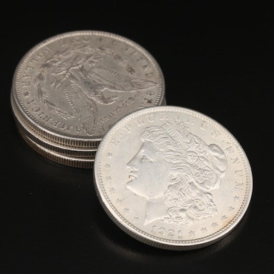 Four Morgan Silver Dollars, Late 19th/ Early 20th Century