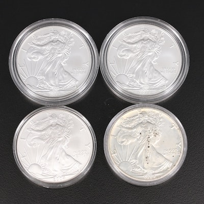 Four .999 Fine American Silver Eagle Coins