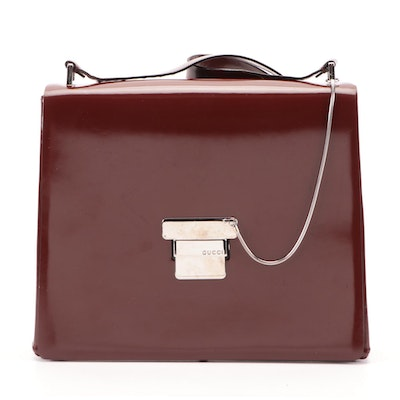 Gucci Mahogany Brown Patent Leather Front Flap Shoulder Bag