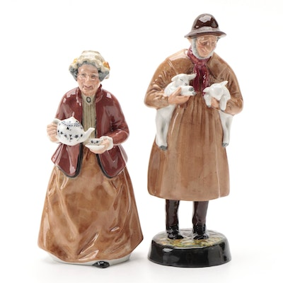 "Royal Doulton ""Teatime"" and ""Lambing Time"" Porcelain Figurines"