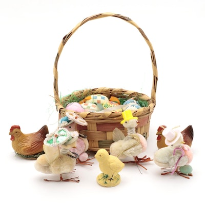 Easter Egg Ornaments, Figurines, Basket and Décor