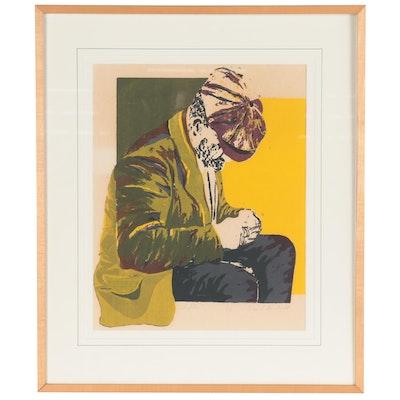 "Figural Serigraph ""Contemplation,"" Mid-20th Century"