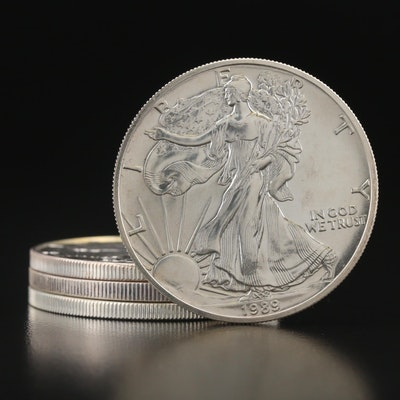 Four $1 American Silver Eagle Bullion Coins