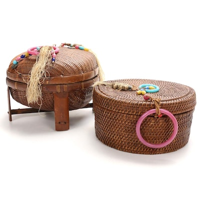 Chinese Sewing Baskets with Peking Glass Beads and Bangles