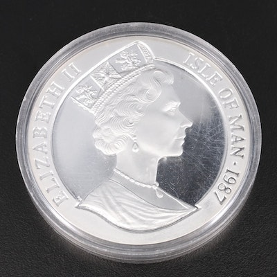 1987 Isle of Man Bicentenary of America's Constitution 5 Ounce Fine Silver Round