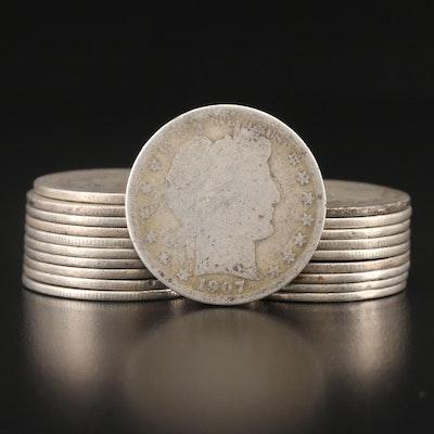 Twenty Barber Silver Half Dollars, 1898–1912