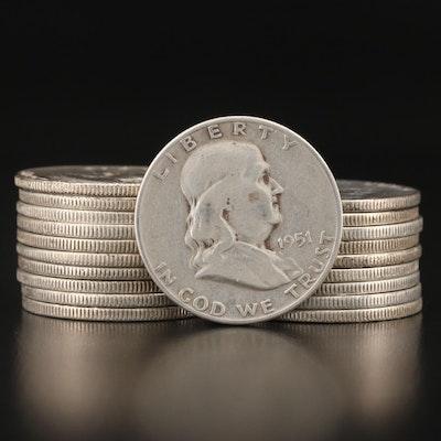 Twenty Franklin Silver Half Dollars, 1950–1961