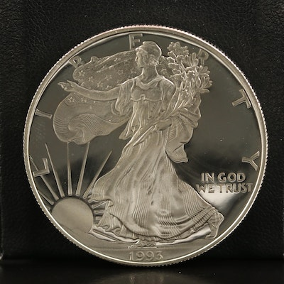 Lower Mintage 1993-W .999 Fine Proof American Silver Eagle Coin