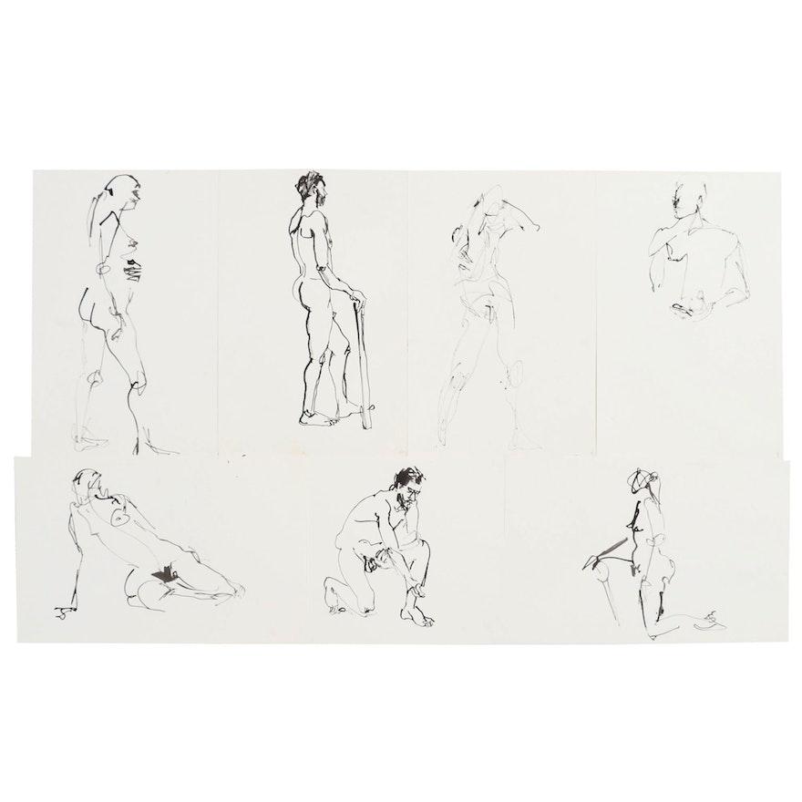 John Tuska Figural Ink Drawings, Late 20th Century