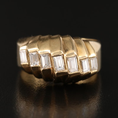 Vintage 18K Diamond Ridged Ring