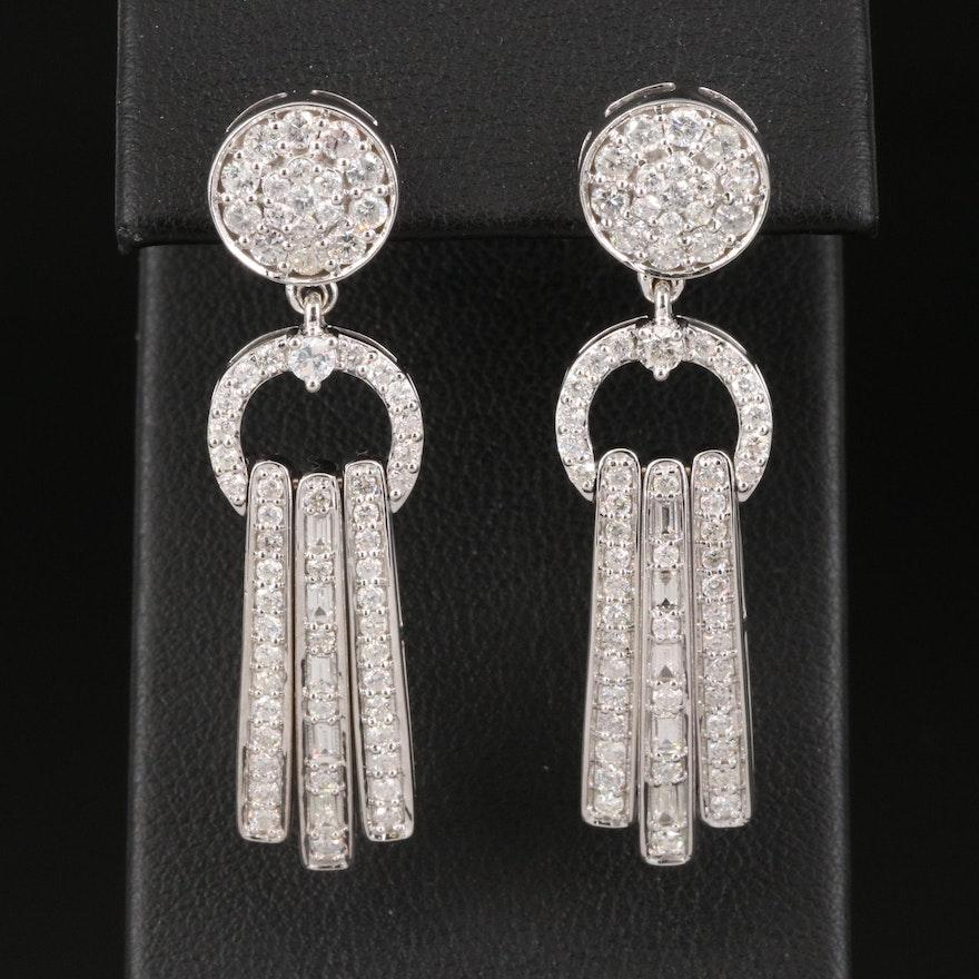 14K 2.08 CTW Pavé Diamond Earrings