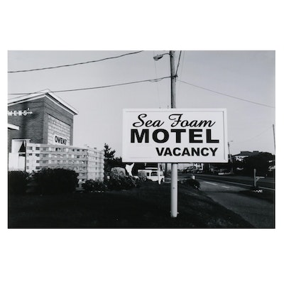 Jaime Bird Black and White Digital Photograph of Motel, 2021