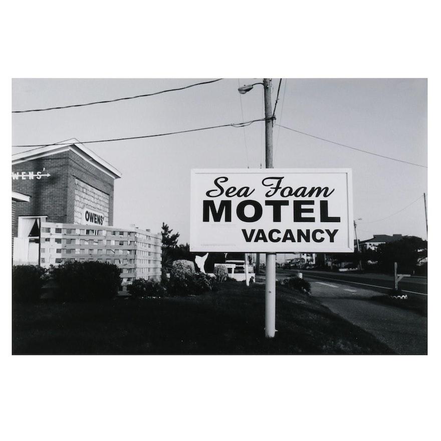 Jaime Bird Black and White Digital Photograph of Motel, 2021