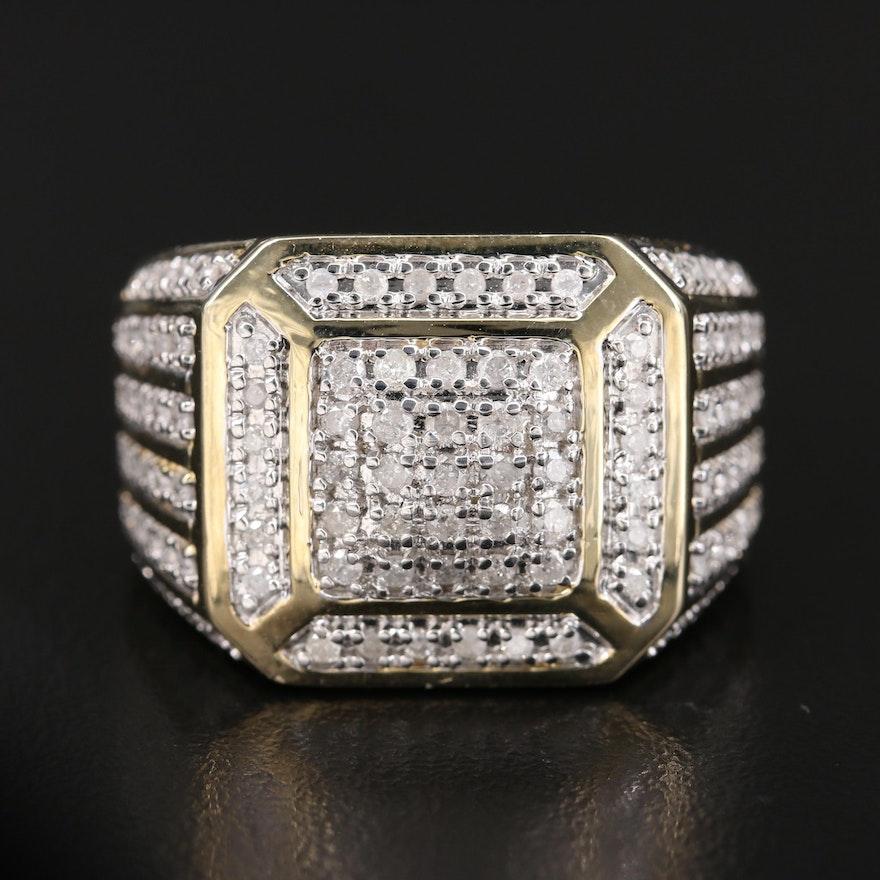 10K 1.00 CTW Diamond Cluster Ring