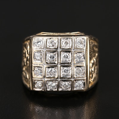 14K 1.05 CTW Diamond Ring with Floral Details